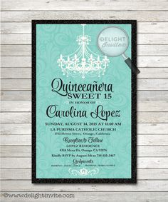 17 quinceanera invitations wording examples quinceanera chandelier tiffany blue quinceanera invitation di 111 custom invitations and announcements for solutioingenieria Choice Image
