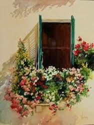 I want this window box in the spring. Watercolour Tutorials, Watercolour Painting, Watercolor Flowers, Watercolors, Pinterest Arte, Foto Transfer, Whimsical Art, Geraniums, Art And Architecture