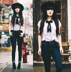 The Orphans Arms Forget Me Not Tee, Abercrombie Jeans, Crossroads Shoes, Asos Bow, Vintage Suspenders
