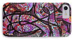 Very Bold And Graphic Abstract .black Stripes In The Background Compete And Win Against Vibrantly Colored Random Patterns .overall Purple Seems To Dominate .followed By Turquoise Orange Yellow And Blue . IPhone 7 Case featuring the painting Legacy by Expressionistart studio Priscilla Batzell