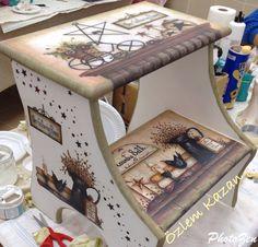 Merdiven ahşap boyama Decoupage Furniture, Hand Painted Furniture, Upcycled Furniture, Shabby Chic Furniture, Cool Furniture, Stool Makeover, Furniture Makeover, Tole Painting, Painting On Wood