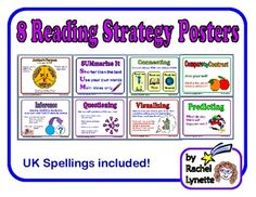 Reading Strategy Posters! Author's Purpose, Summarizing, Connecting, Compare and Contrast, Inference, Questioning, Visualizing, and Predicting.