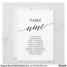 Elegant Black Table Number 9 Seating Chart Fall Wedding Cocktails, Wedding Cocktail Napkins, Seating Chart Wedding, Seating Charts, Elegant Invitations, Custom Invitations, Personalized Napkins, Business Stickers, Black Table