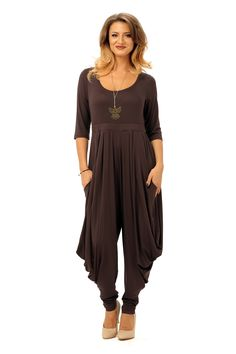 Salopeta GALIFE S014 maron Long Overalls, Tights, Jumpsuit, Sleeves, How To Wear, Free, Dresses, Fashion, Tricot