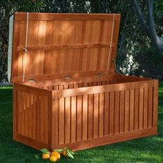 Hyde Park Wood Outdoor Storage Deck Box - Outdoor Benches at Hayneedle Storage Bench Seating, Patio Seating, Bench With Storage, Outdoor Storage, Storage Ideas, Outdoor Spaces, Outdoor Living, Outdoor Decor, Outdoor Benches