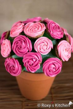 Rose Cupcake Bouquet in a Pot - Pink  Red Roses...