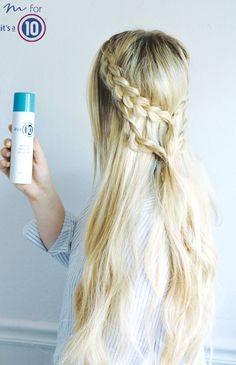 Two Dutch braids secured into one   Using It's a 10 Miracle Blowdry Volumizer #ItsA10SpringStyle