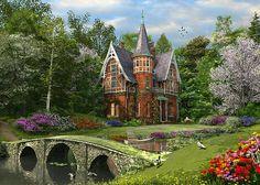 Cobbled Bridge Cottage Digital Art by Dominic Davison
