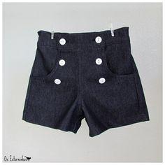 Girls Shorts - High waisted blue denim shorts- str 3år