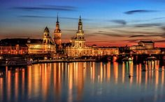 Germany dresden lights night
