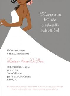 African American bride, bridal shower invitation.
