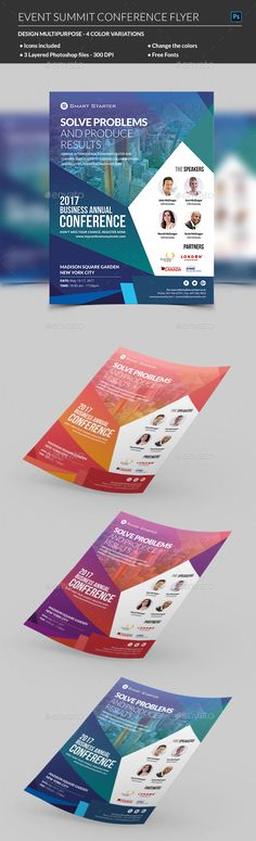 Buy Event Summit Conference Flyer by madridnyc on GraphicRiver. When planning a large scale business event, properly advertising the time, date, and venue type will allow you to eas. Event Branding, Web Design, Flyer Design, Design Trends, Graphic Design, Corporate Flyer, Business Flyer, Business Cards, Corporate Events