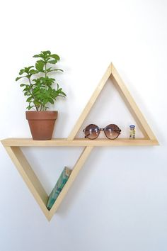 Unstained Geometric Shelf | 21 Geometric Furniture Ideas To Spruce Up Your Interiors