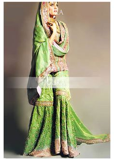 Lime green traditional gharara for bride. If I ever get married again, I want to be wearing this. Absolutely stunning!