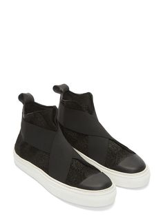 Barny Nakhle || Bubble Treated Leather High-Top Sneakers