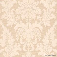 Papel de parede Decoração Adamascado Origini 30-19, Wallpaper, Importado, Lavável, Textura de Tecido, Bege