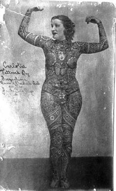 Great tattooed lady vintage pic. This would be a nice addition to our freak show photo gallery.