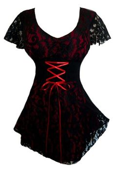 I found 'Plus Size Red and Black Lace Sweetheart Corset Top' on Wish, check it out!