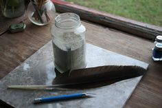 How to make a quill pen feather and ink for it. So cool