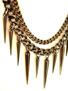 Gunmetal Spike Necklace Gunmetal Chain Link Multistrand Goth Punk Modern Industrial Jewelry POINT OF VIEW.