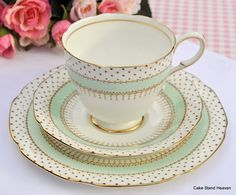 Paragon Polka pattern Art Deco 1930s Teacup, Saucer and Tea Plate