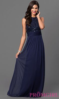 Navy Blue Floor Length Sleeveless Dress with Sequin Top by Marina at PromGirl.com