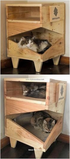 Clever DIY Wooden Pallet Ideas for Your Home - DIY Home Ideas - Quite a unique designing of the cat house structure has been highlighted here that is completely pu - Wooden Pallets, Wooden Diy, Wooden Pallet Ideas, Pallet Seating, Wood Ideas, Pallet Wood, Cat Furniture, Pallet Furniture, Furniture Ideas