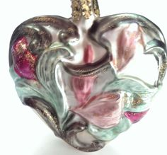 Christborn Heart Flowers Mouth Blown Hand Painted Ornament Bavaria Germany  #Christborn