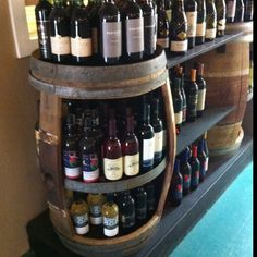 Whiskey barrel shelf, good idea for basement.