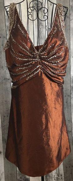 Cassandra Stone Bronze Beaded Sequin Dress Bra Shiny Metallic Lined Size 18 #CassandraStone #Dress