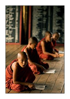 child monks study hard