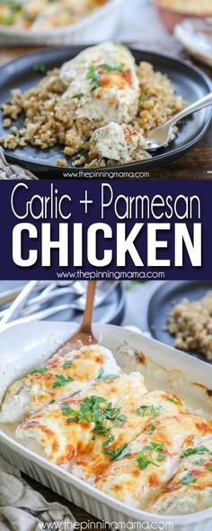 Baked Garlic Parmesan Chicken - Page 4 of 4 - YupFoodie Garlic Chicken, Keto Chicken, Baked Chicken, Oven Chicken, Meat Recipes, Chicken Recipes, Casserole Recipes, Dinner Recipes, Low Carb Recipes