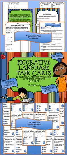 My best seller!   The Figurative Language Task Cards may be used to introduce or review simile, metaphor, hyperbole, personification, alliteration, assonance, imagery, onomatopoeia, and idiom.  Includes 28 cards, a terminology page, and a  formative assessment.