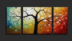 Wieco Art -Stretched and Framed-Lucky Tree- 3 Piece Canvas Art Modern Art 100% Hand Painted Oil Painting on Canvas Wall Art Deco Home Decora... - Click image twice for more info - See a larger selection of wall paintings at http://www.zbestsellers.com/level.php?node=106&title=oil-paintings - home, home decor, home ideas, wall decor, oil paintings, gift ideas