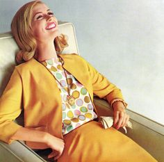 Cheerful golden hues and dots abound in this stylish 1960s ensemble.
