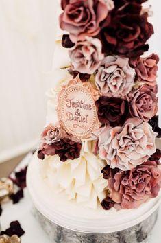 trending floral wedding cake in burgundy cinnamon rose and dusty rose trending . trending floral w Gold And Burgundy Wedding, Gold Wedding Colors, Maroon Wedding, Rose Wedding, Floral Wedding, Wedding Rings, Trendy Wedding, Wedding Shoes, Fall Wedding
