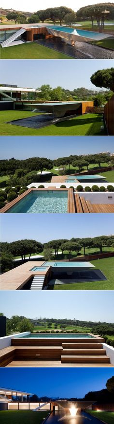 Arqui+ Architecture have completed the design of a house in Vale Do Lobo, Portugal, that includes a multi-level swimming pool.