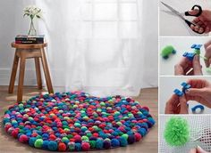 This NO SEW Pom Pom Rug will look beautiful in your home. You'll also love the Sheep and the Teddy Bear Pom Pom Rugs! Diy Pom Pom Rug, Pom Poms, Diy Simple, Easy Diy, Diy And Crafts, Arts And Crafts, How To Make A Pom Pom, Ideias Diy, Home And Deco