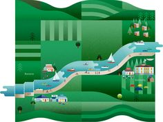 Scottish Canals Illustration by Jack Daly. Boating, River, Canal, Scotland, landscape, Graphic, Outdoors, map