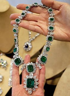Emeralds - Richard Burton bought this for Elizabeth Taylor. It and the matching earrings and ring are back in the Bvlgari collection.