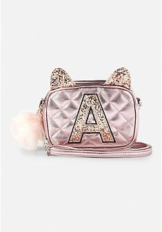 image of Quilted Cat Initial Bag with Little Backpacks, Girl Backpacks, Mommy Baby Matching Outfits, Justice Backpacks, Justice Bags, Unicorn Room Decor, Baby Doll Nursery, Mini Backpack Purse, Baby Doll Accessories