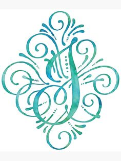Monogram by JunkyDotCom – Curly watercolor hand painted calligraphy monogram letter J in turquoise teal and mint. Any design wishes? Different letter? Different color? Just contact me and I will make it for you without extra costs. Monogram Fonts, Monogram Letters, Wood Letters, Free Monogram, Monogram Initials, Calligraphy Alphabet, Calligraphy Fonts, Font Alphabet, Doodle Art