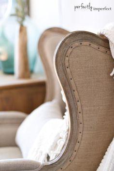 the linen wingback with nailhead trim
