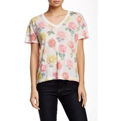 WILDFOX Bright Roses Toasted Tomboy Tee ($30) ❤ liked on Polyvore featuring tops, t-shirts, multi colored, short sleeve v neck tee, wildfox t shirts, pink tee, floral tee and pink graphic tee
