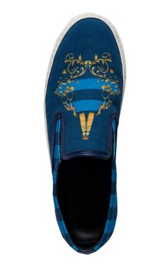 Achilles Canvas Slip On Sneakers In Blue Guns by Mother of Pearl for Preorder on Moda Operandi