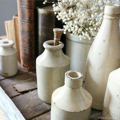 Stoneware bottles Cottage Farmhouse  at home on SweetCreek
