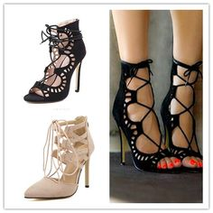 Sexy Women Pumps Pointed Toe High Heels Shoes Woman Lace Up Cutouts Fashion  Women Wedding Shoes 564bc3dc6d0f