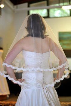 Lace veil - Alencon lace veil Waist Length Lace 2 Tier by NicoleMaeLaceVeils, $195.00