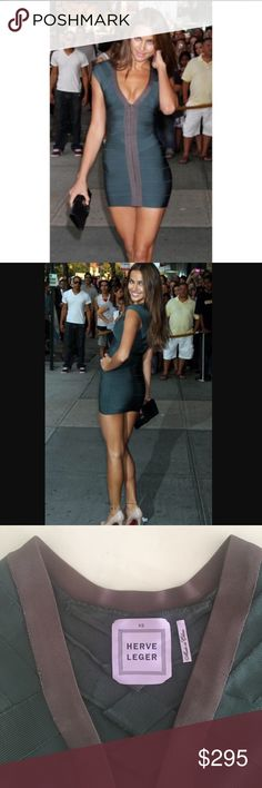 Herve Leger Green and Grey Bandage Dress XS Herve Leger front zipper dark green bandage dress size XS as seen on Irina Shayk. The dress is a dark green with gray down the front. This dress is actually reversible with the other way being much more modest. Either way it is a super sexy mini dress! Only worn twice. 100% authentic. Herve Leger Dresses Mini