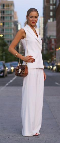 http://www.theclassycubicle.com/2014/09/nyfw-street-style-recap.html | nyfw street style, ivory tuxedo vest, cream wide leg trousers, leopard print chloe cross body bag | new york fashion week street style #ss15 #nyfw